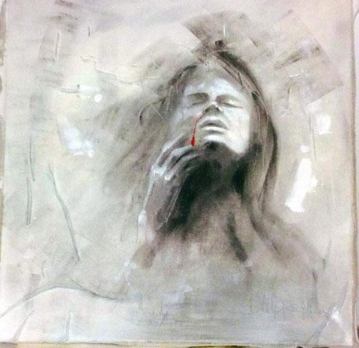 D'alpaos Alba  - Il male - tecnica mista legno - 80 x 80
