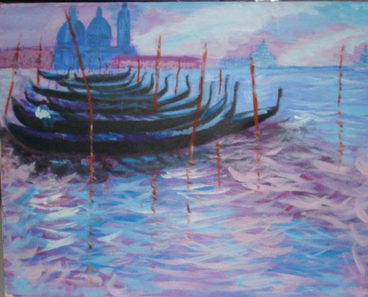 Elena Mordenti - Gondole a venezia - acrilico su tela - 70 x 50