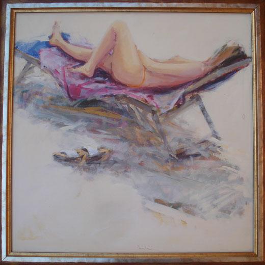 Giuliano Trombini - Bagnante - olio tela - 50 x 50