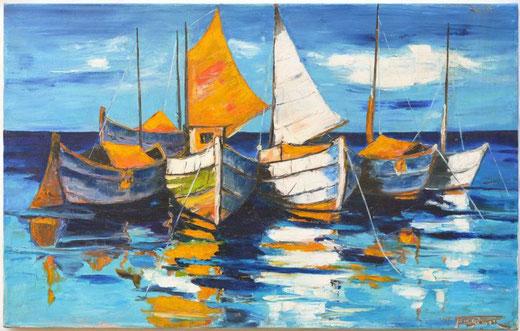 Bresciani Mario (Italia) - Paesaggio marino - olio su tela - 80 x 50