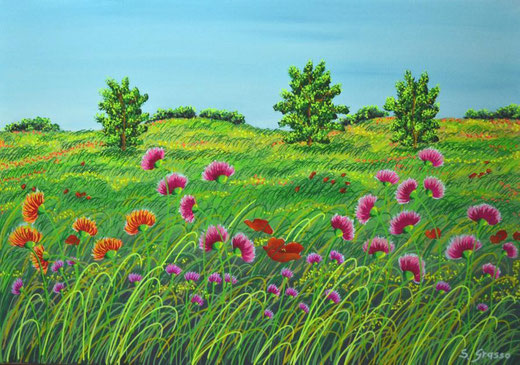 Grasso Seby (Italia) - Profumo di primavera - olio su tela - 70 x 50