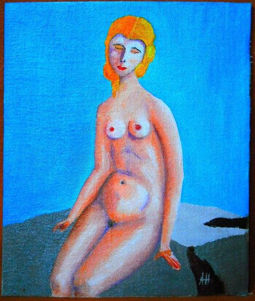 Adrian Horatiu (Romania) Madonna on the rocks - olio cartone - 16,5 x 19,5