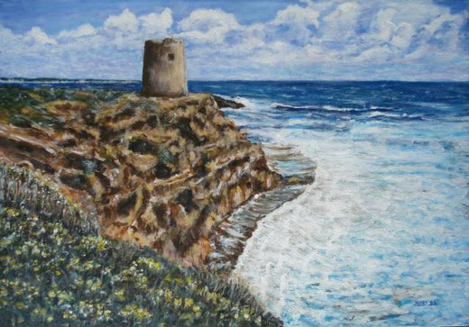 Careddu Marinella - Torre su scogliera - acrilico tela - 50 x 35