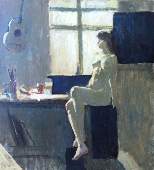 Janine Larsson - Nude - olio su tela - 100 x 100
