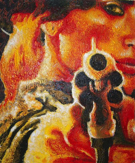 Claudia D'Anna - Senza titolo - tecnica mista su tela - 100 x 80