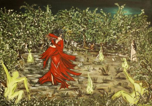 Patrizia Perticari - La notte di Valpurga - olio su tela 100 x 70