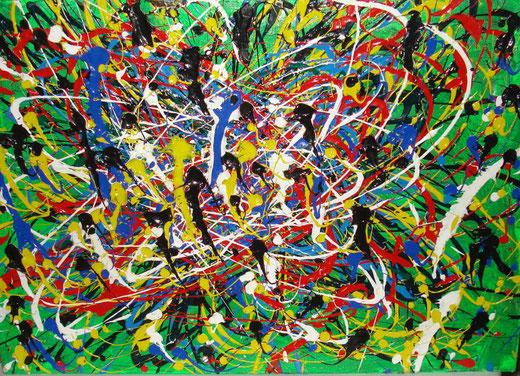 Daniele Isetta - Senza titolo - smalti su tela - 70 x 50