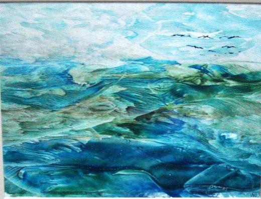 Dumas Gabriella – Giochi di mare - tecnica mista tela - 40 x 30