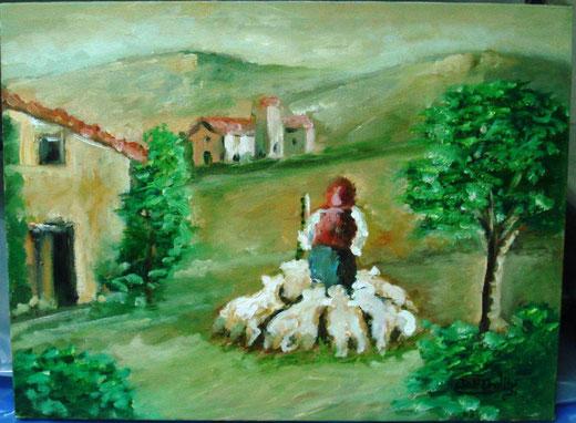 Silvana Dell'Ordine - La pastorella - olio su tela - 40 x 30