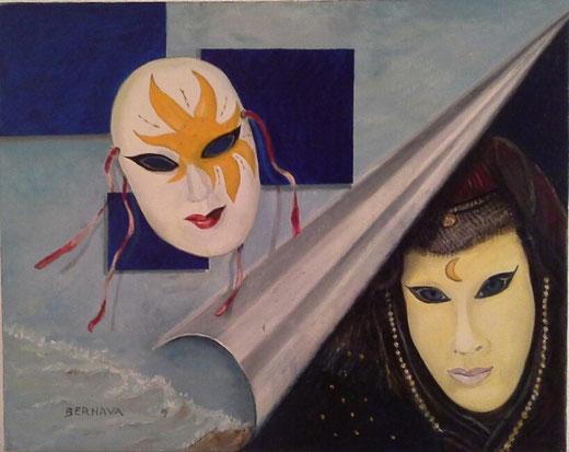 Angelo Bernava - Sol y luna - olio tela - 50 x 40