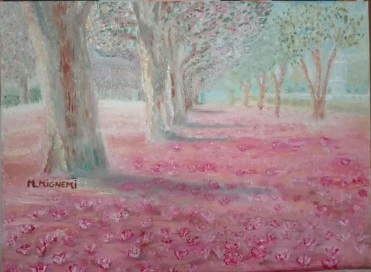 Manuela Mignemi - Sussurri tra i fiori rosa - olio su tela - 40 x 30