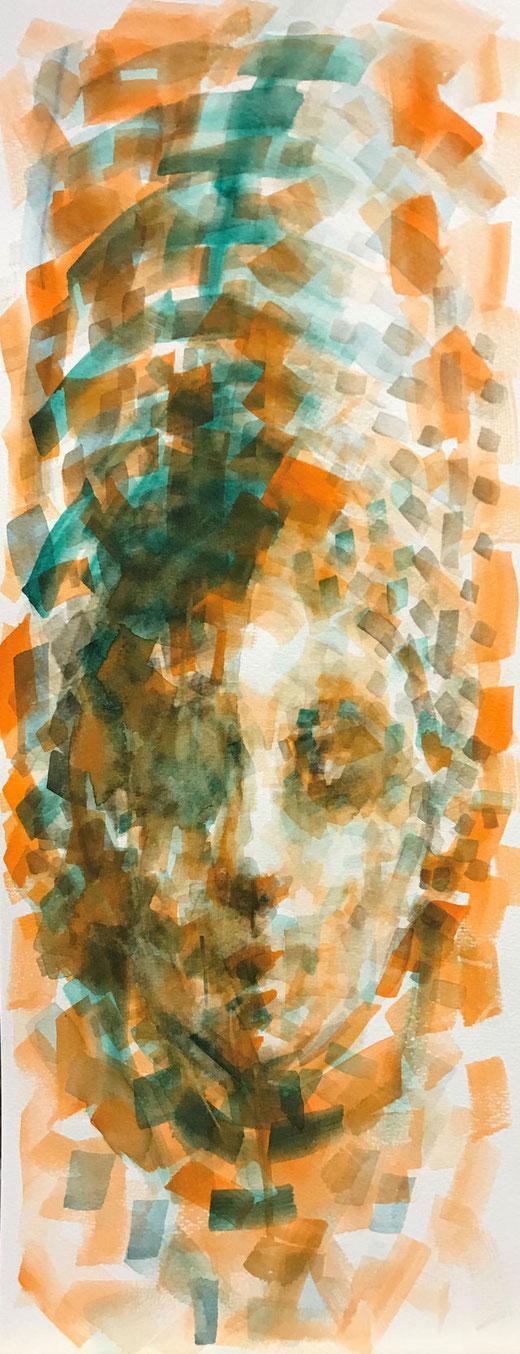 Massimino Margherita - Volto - acquerello su carta 20 x 50