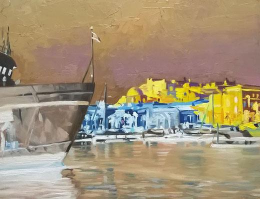 Castellese Salvo - Porto di Milazzo - olio su tavola - 31 x 24