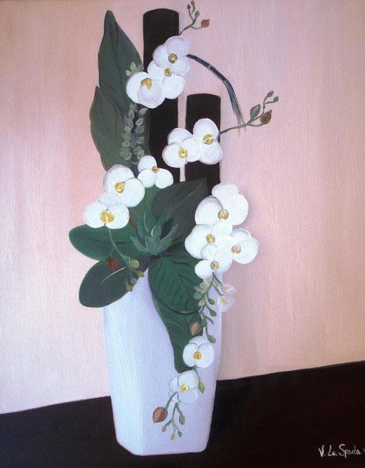 Valentina La Spada - Vaso di fiori moderno - olio su tela - 40 x 50