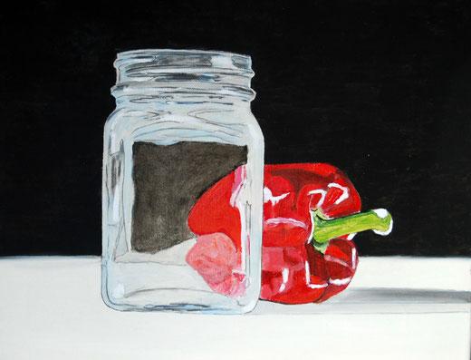 Aldo Mingozzi (Italia) Vaso di vetro e peperone rosso – olio tela – 50 x 40