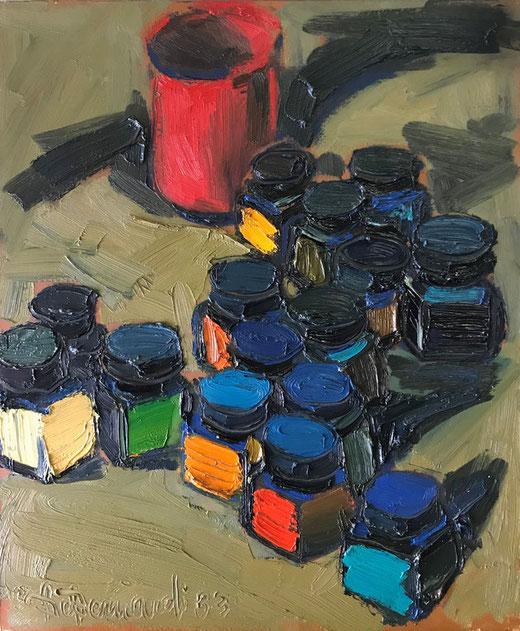 Debernardi Silvano – Boccette di colore – olio su tela – 50 x 60