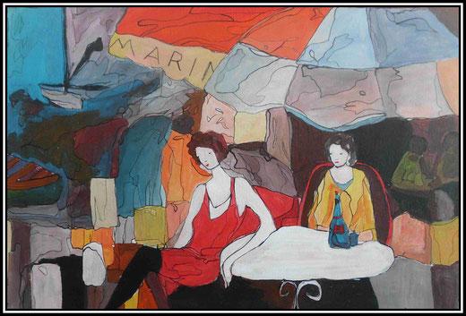 Martine Jaeger- L'attesa -  acrilico  su tela - 50 x 70