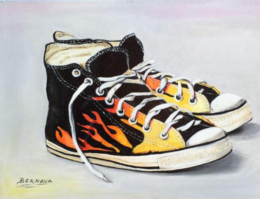Angelo Bernava - Passeggliata - olio su tela - 40 x 30