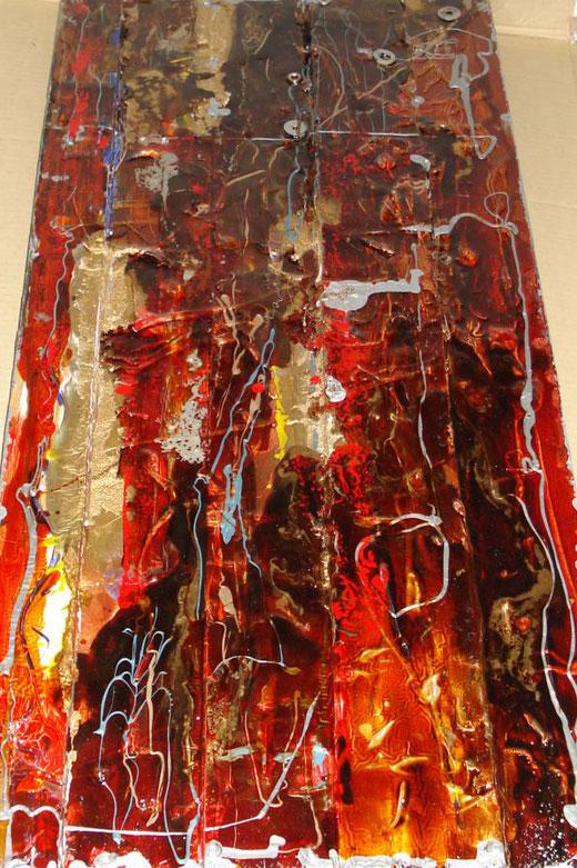 Davide Bini - Aurora Boreale - tecnica mista su tavola di legno - 50 x 70
