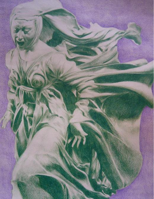 Okiana Mikeli - Il dolore - matita su carta - 35 x 50