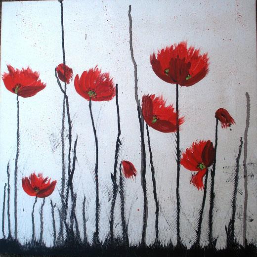 Chiara Maria Rossetti – Papaveri – acrilico tela – 50 x 50