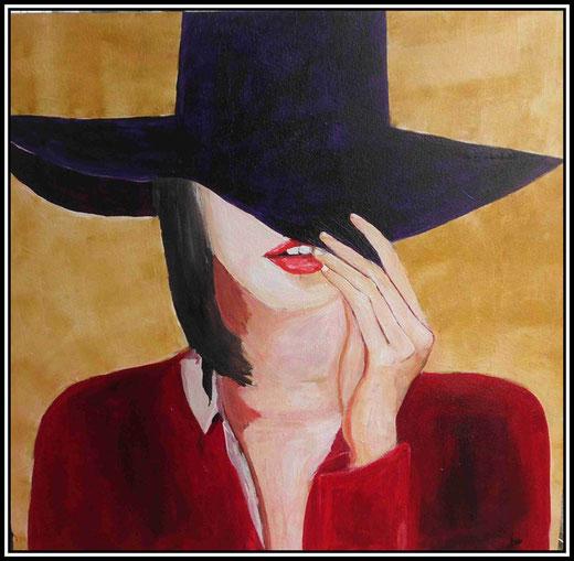 Martine Jaeger- Donna col cappello - acrilico su tela - 90 x 90