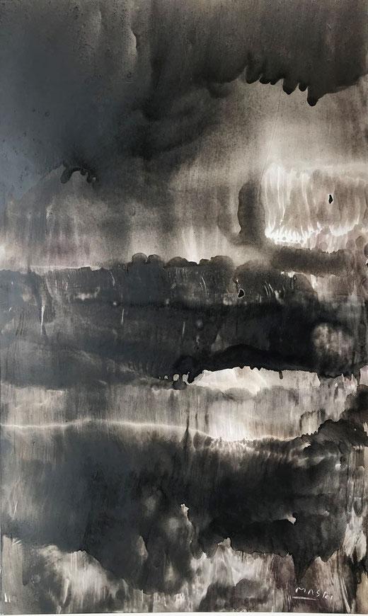 Masri - Landscape 2 - olio su carta - 29 x 48