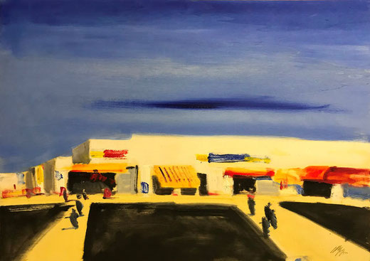 Magazzini Salvatore - Paesaggio - olio su tavola di legno - 70 x 50