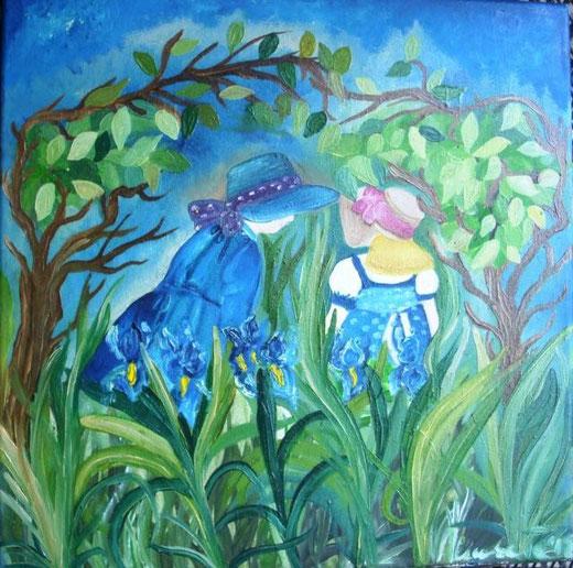 Ruffini Umberta - Lezione tra gli iris - olio tela  - 30 X 30