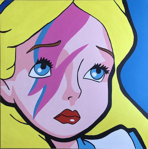 Casarini Tiziano - Alice come David Bowie - acrilico su tela - 70 x 70