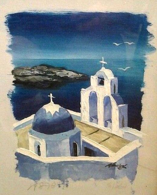 Vasili Alexiou - Santorini - olio su carta - 25 x 30