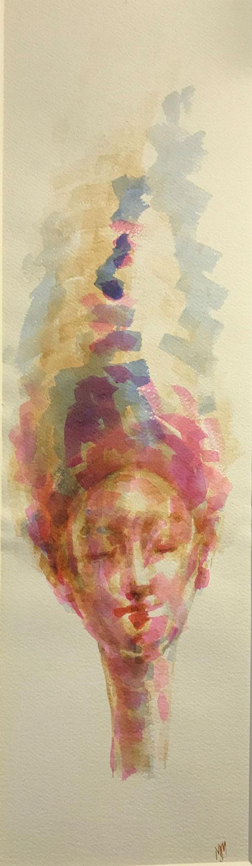 Massimino Margherita - Volto - acquerello su carta 20 x 70