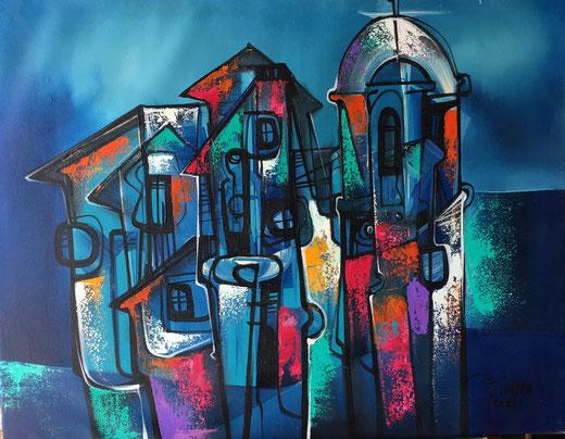 Simeon Gonzales - Notturno - olio su tela - 80 x 60