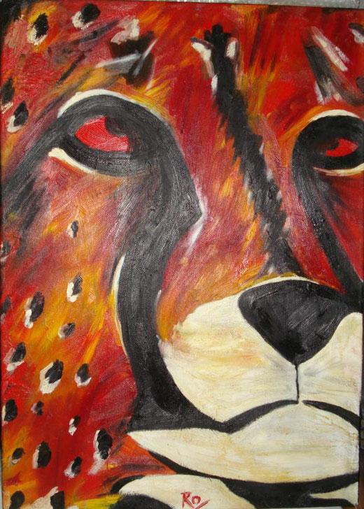 Romina La Peeh - Ghepardo - olio su tela - 50 x 70
