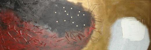Marcello Delussu - guerrieri alle porte dell'inferno e del paradiso - tecnica mista su tela - 150 x 50