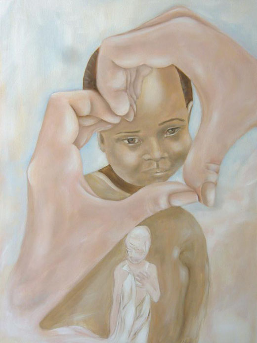 Amalia Gil-Merino - A heart for Dafur - olio su tela - 60 x 80
