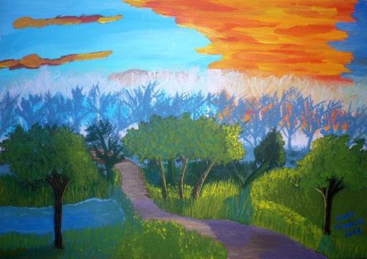 Menaballi Laura - Foresta incantata - acrilico tela - 50 x 35