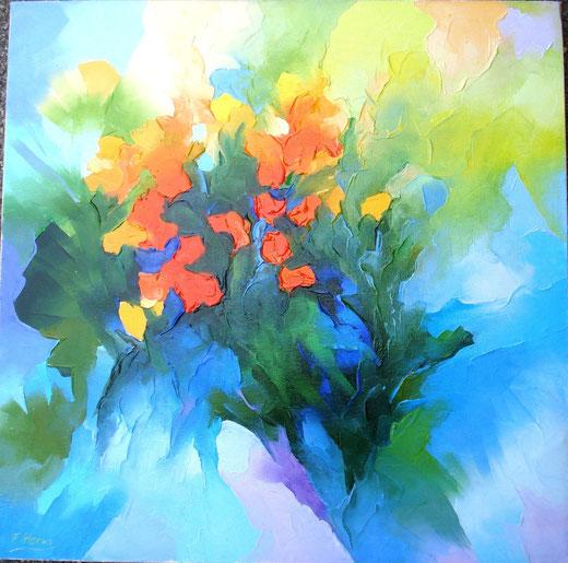 Alex Fumagalli (Italia) - Fiori - olio tela - 50 x 50
