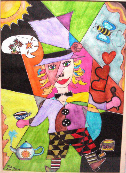Enrica Merlo - Il cappellaio matto - acquerello su cartone - 50 x 70