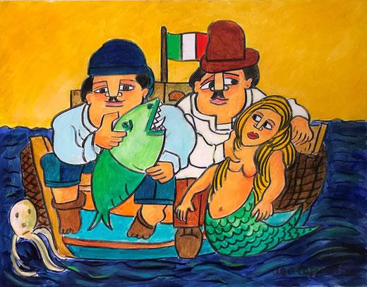Tapparini Ugo - Pesca miracolosa - olio su tela - 90 x 70