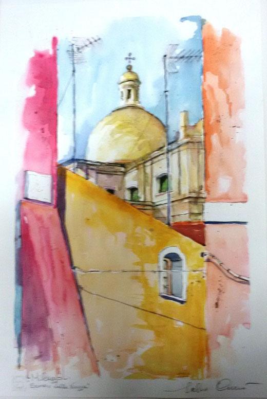 Salvo Currò - Scorcio di Milazzo - acquerello cartoncino - 45 x 70