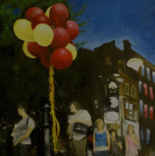 Wendy Sara (Italia) - Covent garden baloons - olio su tela - 60 x 60