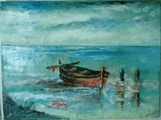 dellordine silvana barca a riposo olio e spatola su tela 40 x 30