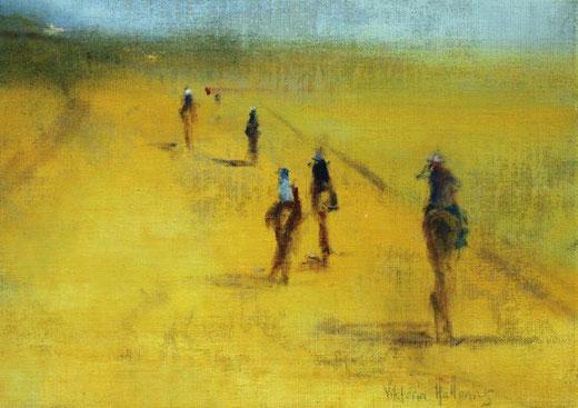 Viktoria Hallenius - Riders - olio su tela 42 x 30