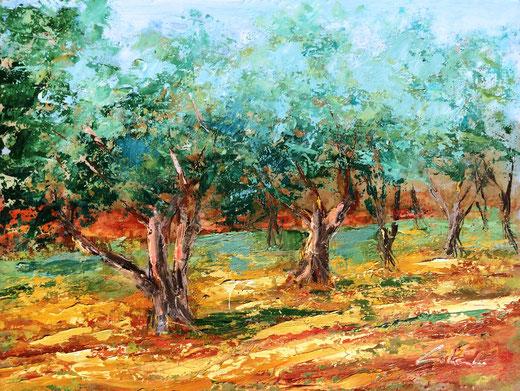 Colombo Carla (Italia) – Gli ulivi raccontano - olio e spatola su MDF - 40 x 30