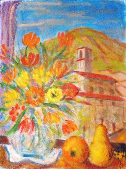 Betta Valerio (Italia) - Natura morta con paesaggio - olio su tela sabbiata - 40 x 30