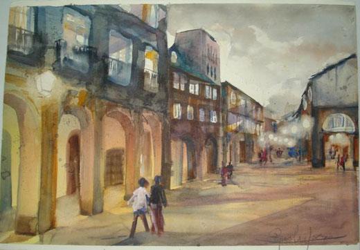 Fracasso Pasqualino  – Piazza Grande Acquarello, Cartone  Cartoncino, 54x35cm