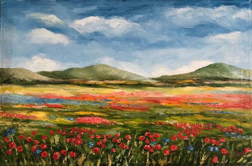 Nobili Maria - Paesaggio con papaveri - olio su tela - 60 x 40