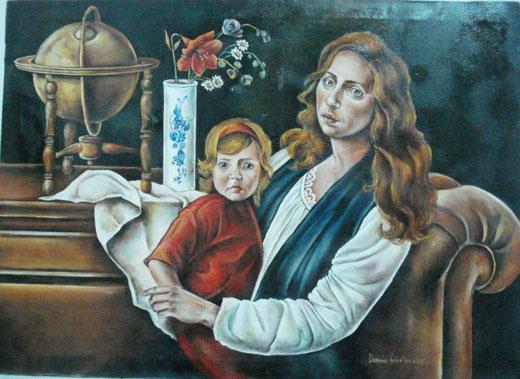 dominici valentina maternità olio su tela 91 x 66
