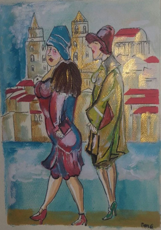 Mattei Gentili Paola (Italia) - Turiste a Cefalù - olio su carta - 35 x 50